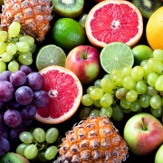 Organic fruits/ Healthy eating concept. Top view.